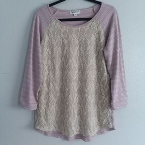 WONDERLAND By ORANGE Pink Flowy Lace 3/4 Sleeve